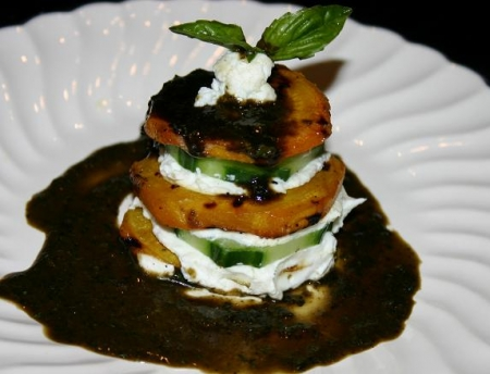 Golden Beet Tower with Cucumbers, Fresh Goat Cheese with a Basil ...