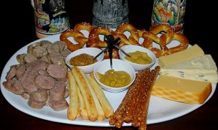 For another version of a German platter that has similar ingredients see German Fondue Platter. & Simple German Sausage Cheese and Pretzel Platter | Chatty Gourmet