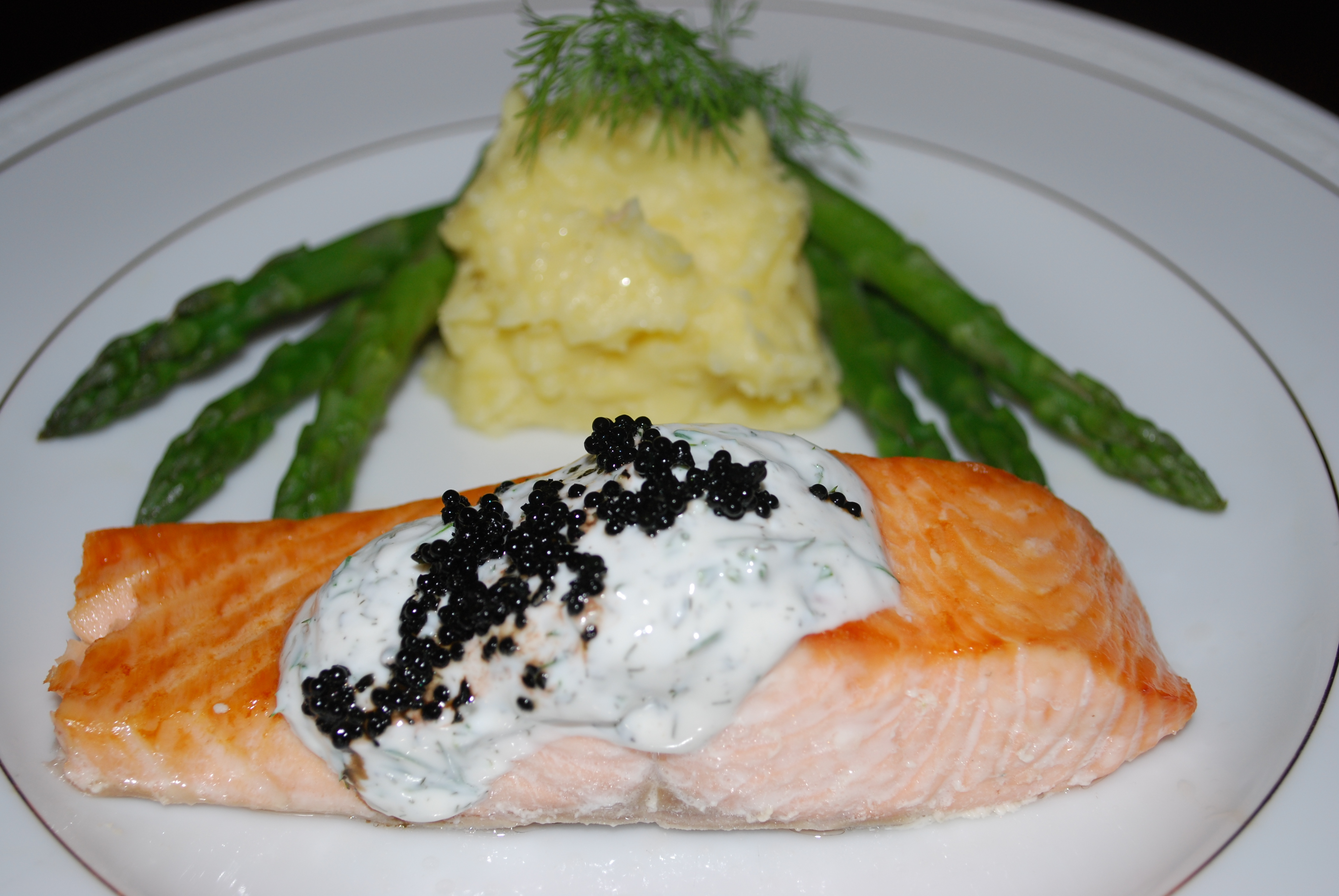 ... Spring Dinner (Salmon with a Dill Cream and Caviar) | Chatty Gourmet