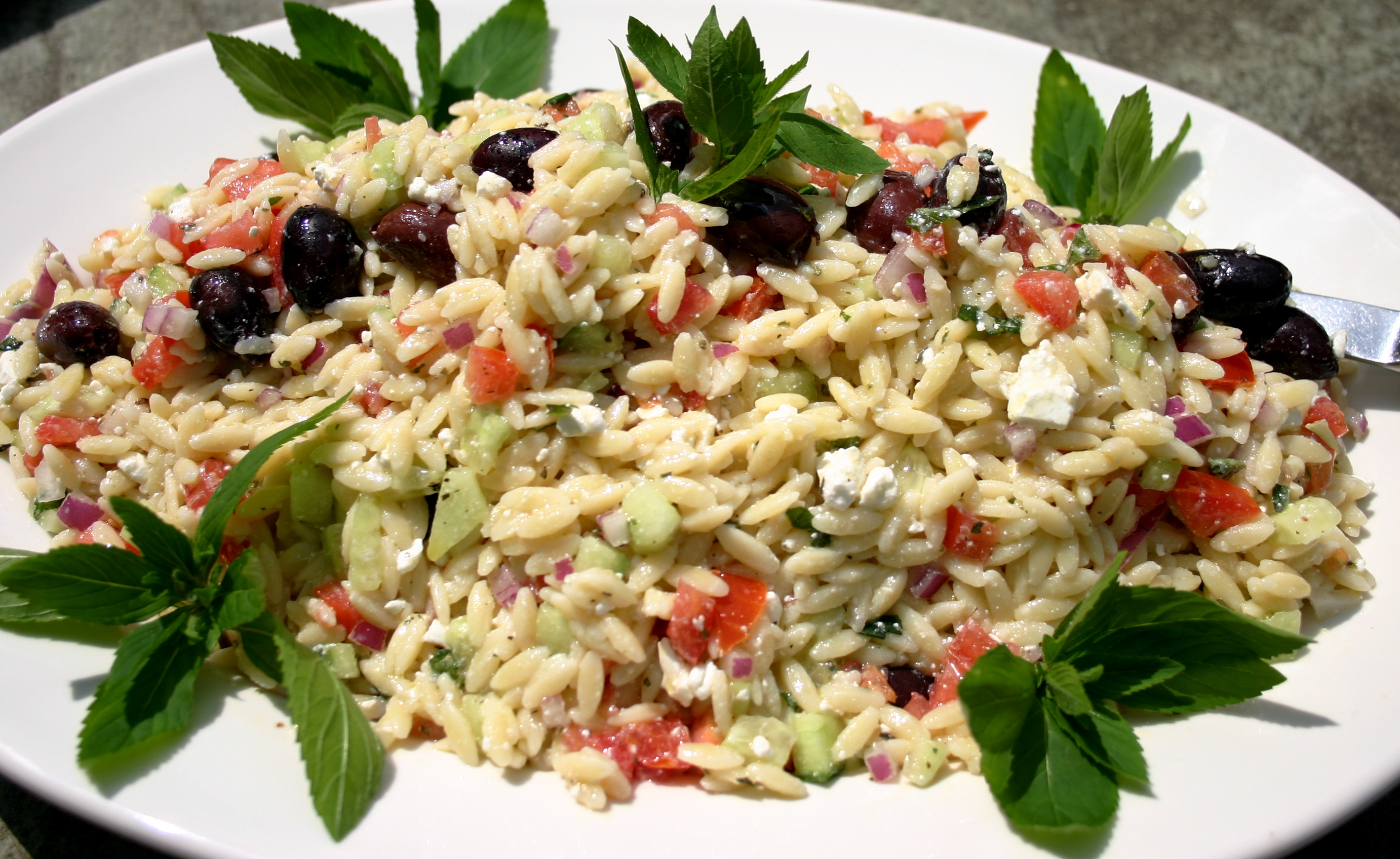 Chilled Orzo Pasta Salad with Summer Vegetables and a Greek Seasoning