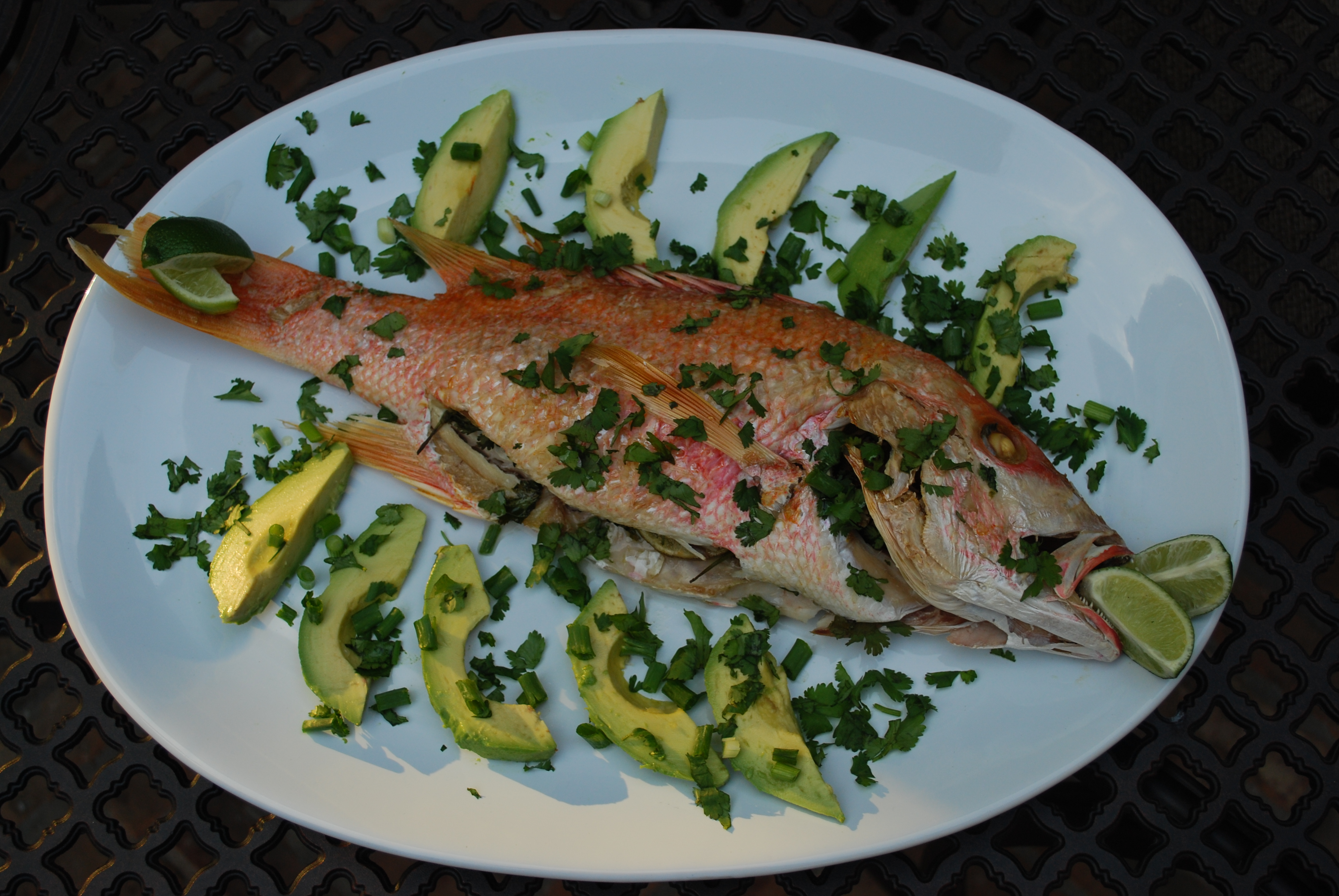 polenta whole grilled fish with lime whole grilled fish grilled corn ...