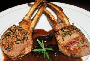 Mediterranean Inspired Dinner (Double Lamb Rib Chops with a Fig Port Sauce)