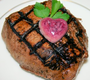 Valentine's Day Menu (Grilled Filet with a Shallot, Red Wine Butter Compound)