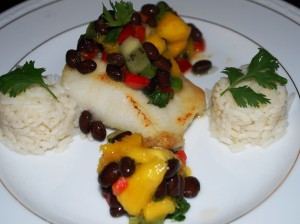 Latin Inspired Dinner Party (Halibut with a Mango Black Bean Salsa)